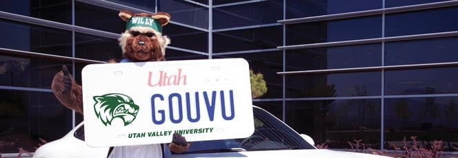 UVU Mascot, Willy the Wolverine, standing in front of a white car and holding a very large Utah UVU license plate. The license plate has UVU's dark green mascot logo (a wolverine face), dark blue